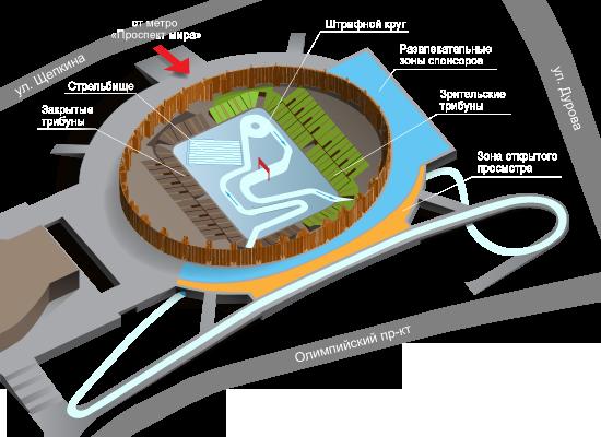 Схема мест в зале Олимпийского